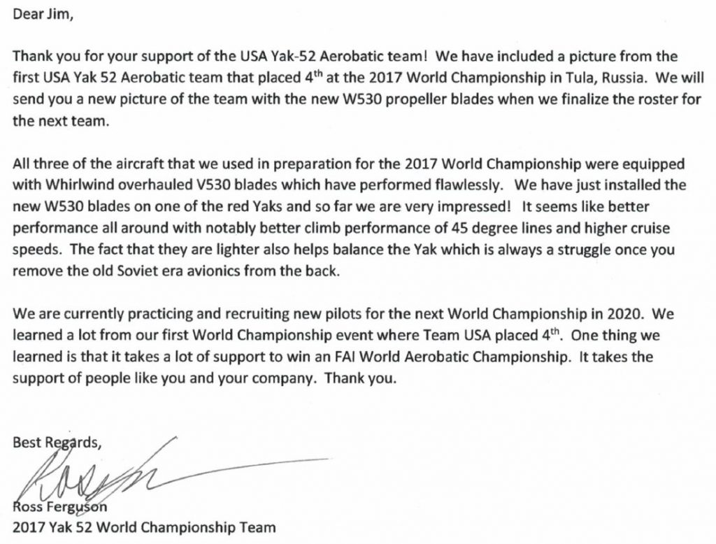 USA YAK Team Letter 2017